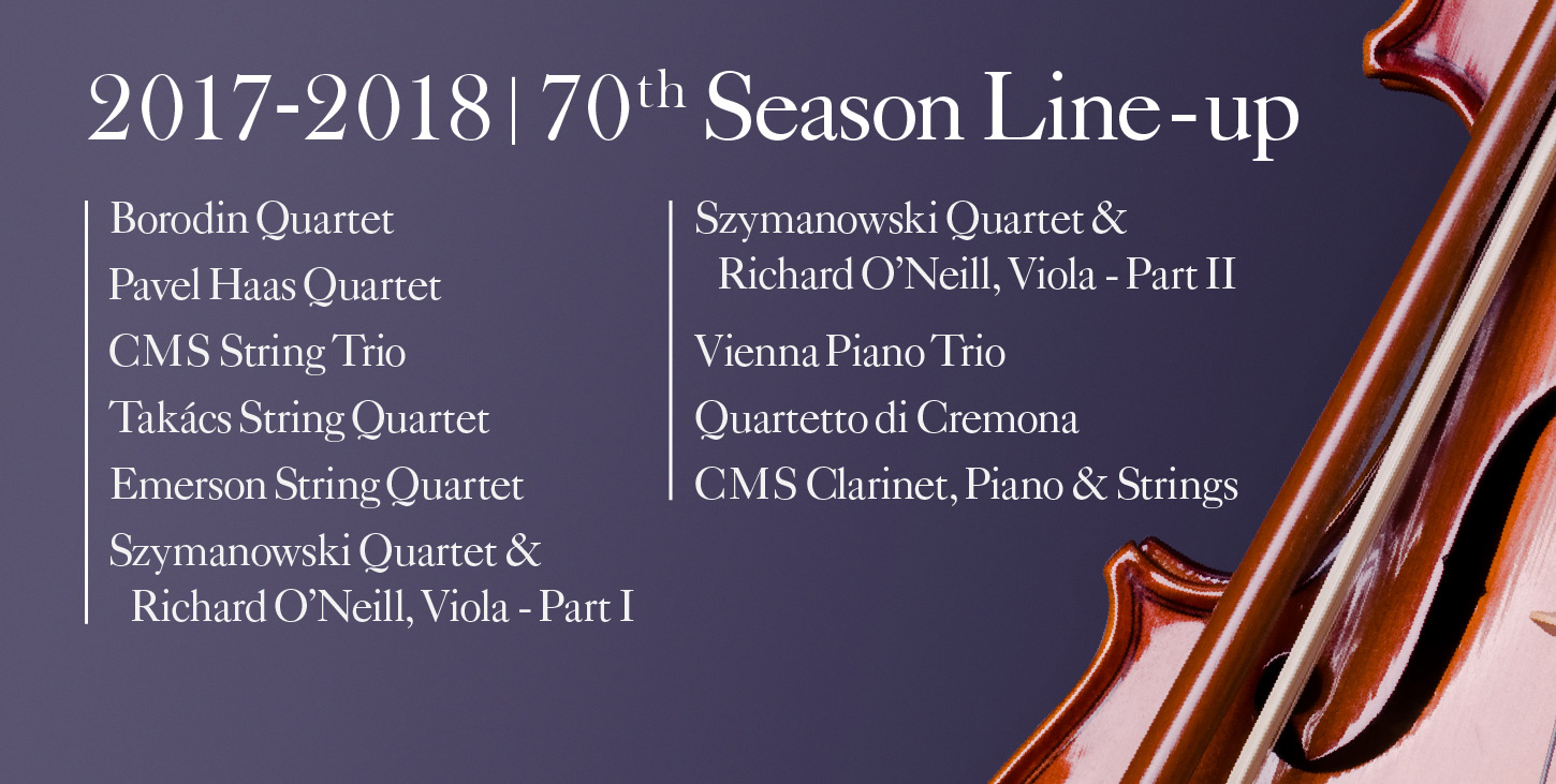 Friends of Chamber Music 70th Season lineup